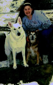 Deb Howe with Hex and Glacier